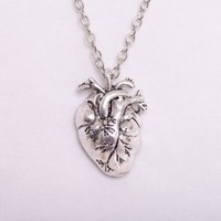 Anatomical Human Heart Pendant Necklace Punk Gothic Rokcer Human Steampunk Silver Plated