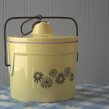 Vintage Cheese Crock, Farmhouse Kitchen Storage, Ceramic Crock with Lid