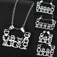 Family Love Stainless Steel Pendant Mom Dad Parents Children Charm Necklace Boys Girls Jewelry Gifts Mothers Fathers Presents