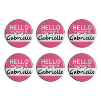 Gabrielle Hello My Name Is Plastic Resin Button Set of 6