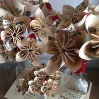Mother's Day Bouquet 3 Paper origami flowers up-cycled from Makers Mark bourbon bottle labels