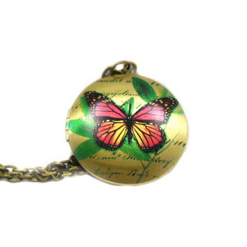 Butterfly Locket Necklace, Charm Necklace, Long Bronze Necklace, Delicate Necklace, Memory Locket, Locket Necklace, Picture Locket Necklace