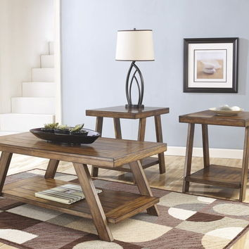 Ashley Furniture T392-13 3 pc bradley collection burnished brown finish wood coffee and end table set