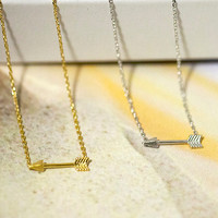 Tiny arrow necklace in gold or silver plated, wedding gifts, bridal shower gifts, simple, everyday necklace