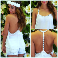 Indio White Daisy Flow Tank Top