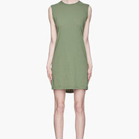 Rick Owens DRKSHDW Moss Green Jersey Column Dress for women | SSENSE