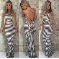 New Fashion Women Sexy Bodycon Club Wear Dress Backless Sleeveless Floor-length Striped Print Party Long Dress  [9221264900]