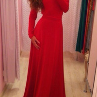 Red Long Sleeve V Shape Back Bodycon Maxi Dres