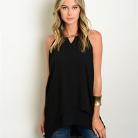Women Fashion Sheer Black Layered Sleeveless Tunic Top blouse Shirt Dressy Sexy