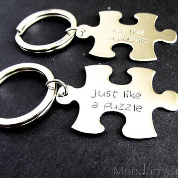 Just Like a Puzzle, Hand Stamped Stainless Steel Puzzle Piece Keychain Set of Two for Couples or Best Friends, Custom Words Available