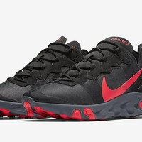 HCXX 19Aug 131 Nike React Element 55 Black-Solar Red BQ6166-002 Casual Sports Running Shoes