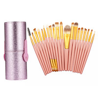 20Pcs Pink Makeup Brushes Set Powder Foundation Eyeshadow Eyeliner Lip Brushes + 1PC Round Pen Holder Cosmetic Tool Set GUB#
