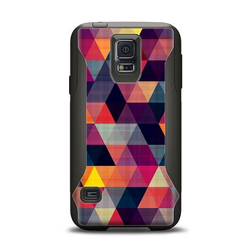 The Vector Triangular Coral & Purple Pattern Samsung Galaxy S5 Otterbox Commuter Case Skin Set
