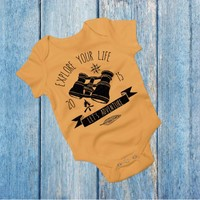 Explore Your Life - Yellow Camping/Outdoors Boho Baby Outfit