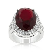 Lina Vintage Ruby Red Oval Halo Cocktail Ring | 17ct