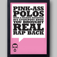 """KANYE WEST  """"Pink-Ass Polos"""" quote poster - Yeezus lyrics - I Am A God - Jay-Z - typographical print"""