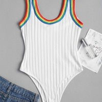 Stripes Panel Ribbed Bodysuit