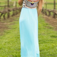 Baby Blue Patchwork Round Neck Sleeveless Bohemian Maxi Dress