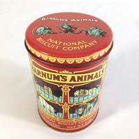 Vintage Barnum's Animal Cracker Storage Tin Kids Treasure Box Craft Supply Tin with Lid Small Toy Storage Keepsake Knick Knack Tin