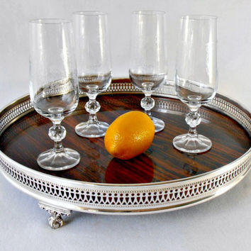 """Mid Century Sheffield Silver Gallery Tray, Formica Surface Faux Wood Claw Foot Reticulated Tray, Barware Serving Tray, 14"""" Large Round Tray"""