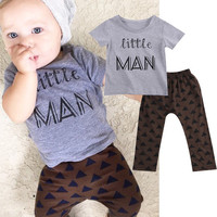 2016 T Shirt Tops + Pants 2pcs Newborn Toddler Infant Kids Baby Boy Clothes Sets Casual Cotton Quality Little Man Outfits Set