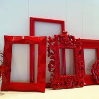 Red Frames Gallery Wall Frames Funky Vintage Frame and Sconce Set Red Riding Hood Upcycled Painted