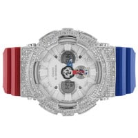 Mens G Shock Watch Simulated Diamonds Blue Red Silicone Strap Analog Digital New