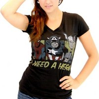 Marvel Comics I Need A Hero Black V-neck Juniors T-shirt