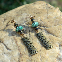 Peruvian Handpainted Ceramic Bead Dangle Earrings