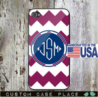 Large Chevron Monogram Personalized Phone Case Your Choice of Color and Monogram  iPhone 5 iPhone 5S iPhone 5C iPod iPhone 4/4S iPhone 6