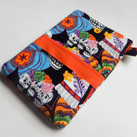 """iPad Cover / Sugar Skulls / iPad Air Case / Day of the Dead / Galaxy Tab Sleeve / 10"""" Tablet Cover / iPad Case / i Pad Cover /  Tablet Case"""