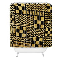 Nick Nelson Gold Fuse Shower Curtain