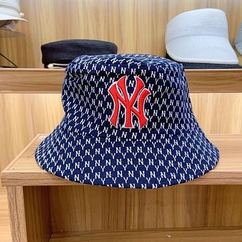 """New York Yankees"" Unisex Personality Vintage Full Letter Embroidery Double-sided  Fisherman Hat Bucket Hat Couple Casual Sun Cap"