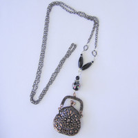 Necklace with a fabulous purse pendant. Black necklace.Vintage style necklace. Large and feminine necklace.