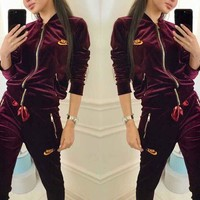 NIKE Sports Suit Velvet Zipper Two Piece B104506-1 Burgundy B-NYK-68