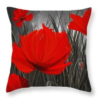 """Blood-Red Poppies - Red And Gray Art Throw Pillow 14"""" x 14"""""""