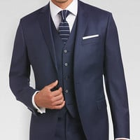 DKNY Navy Tic Extreme Slim Fit Vested Suit - Extreme Slim Fit | Men's Wearhouse