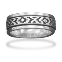 Sterling Silver Santa Fe Design Spin Ring