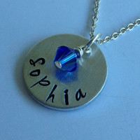 Hand Stamped Personalized New Mom Necklace with Birthstone / Hand Stamped New Mom Pendant / New Grandma Pendant / Personalized Jewely