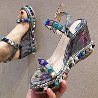 New high - heeled wedge - word color willow - tinted platform sandals