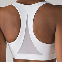 lululemon丨Invigorate Women's Run Yoga Sport Bra - White - Black -Pink