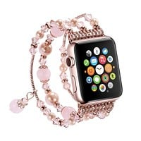 Apple Watch Band,Pearl Elastic Stretch Bracelet Replacement Women Girls iWatch Bands Strap for Apple Watch Series 3/2/1 38mm - Pink