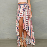 Summer Irregular Beach Skirt Beach Cover Up Women Striped Printing Asymmetrical Hem Chiffon Skirt Cover Ups For Women Beachwear