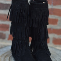 Cherokee 3 Layer Fringe Boot {Black}