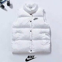 NIKE Autumn And Winter New Fashion Bust And Back Letter Hook Print Keep Warm Vest Top Down Coat White