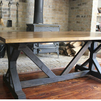 Handcrafted Farmhouse Fancy X Dining Room Table With or Without Benches - Solid Wood -You Choose Your Size