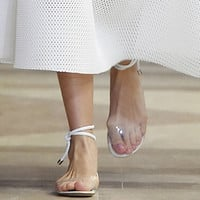 Fashion Week Celebrity women ankle cross straps flat shoes transparent summer sandals Hand made classic comfort shoes