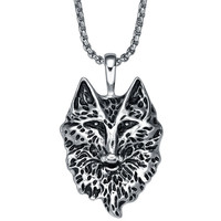 Stainless Steel Wolf Pendant Necklace