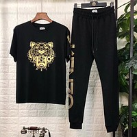 KENZO Trending Women Men Stylish Print Short Sleeve Top Pants Two Piece Set