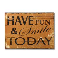 """Decorative Wood Wall Hanging Sign Plaque """"Have Fun & Smile Today"""" Brown"""